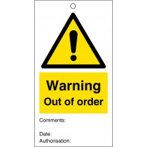 Warning Out Of Order Safety Tags 80mm x 150mm Pack of 10