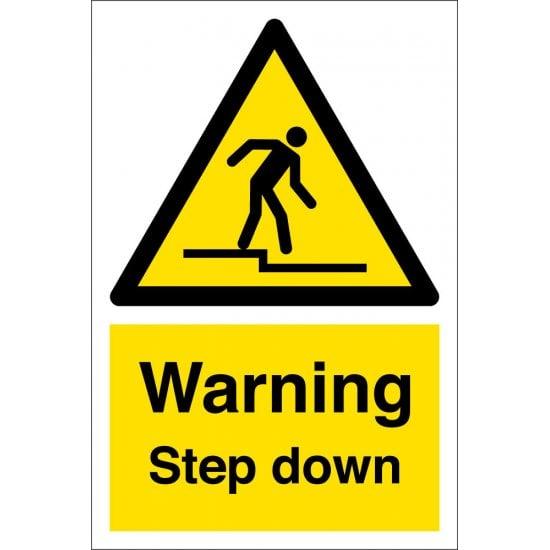 Warning Step Down Signs