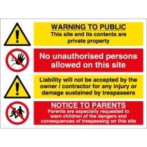 Warning To Public Construction Site Signs