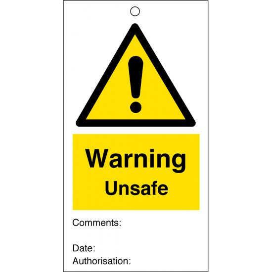 Warning Unsafe Safety Tags 80mm x 150mm Pack of 10