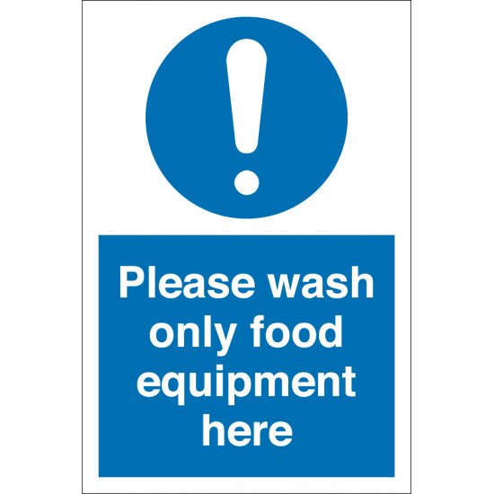 Wash Only Food Equipment Signs