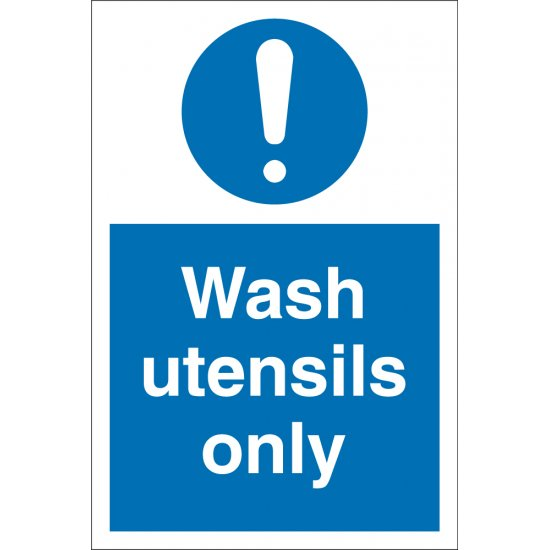 Wash Utensils Only Signs