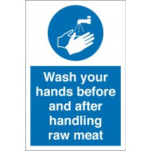 Wash Your Hands Before And After Handling Raw Meat Signs