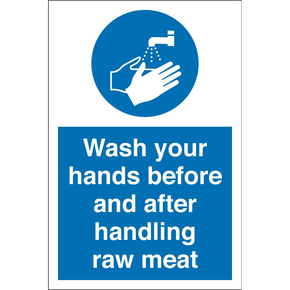 Wash Your Hands Before And After Handling Raw Meat Signs From Key