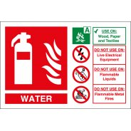 Water Fire Extinguisher Signs