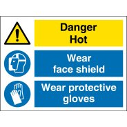 Wear Face Shield and Protective Gloves Signs