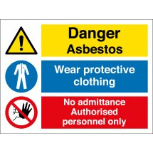Wear Protective Clothing Asbestos Signs