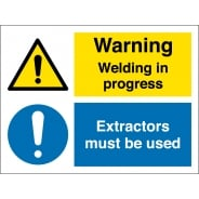 Welding In Progress Extractors Must Be Used Signs