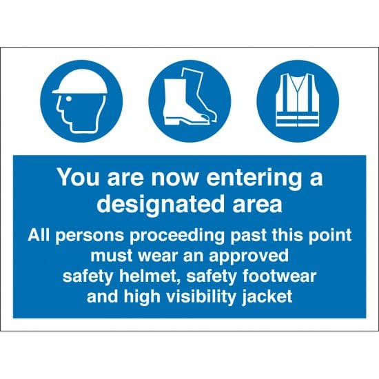 You Are Entering A Designated Area PPE Signs