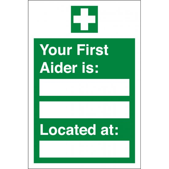 Your First Aider Located At Signs